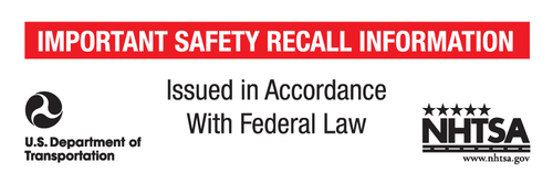 New standardized car recall notice label created by the NHTSA in 2014. (PRNewsFoto/The Hanover Insurance Group, Inc)