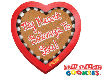 Great American Cookies(R) Debuts New Heart-Shaped Cookie Cake Designs and Windowed Gift Boxes for Valentine's Day 2011.  (PRNewsFoto/Great American Cookies)