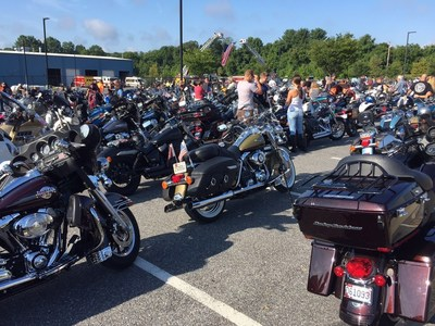 Motorcycles are lined up before the Second Annual Ride with the Heroes. A group of injured veterans with Wounded Warrior Project escorted hundreds of motorcycle riders across Maryland on a 65-mile rural tour. The ride is an annual community event that recognizes service members including military, firefighters, and police.