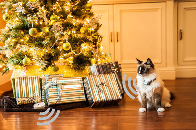Shields(R) Avoidance solution emits a signal to the cat's Computer Collar(R), delivering an audible warning tone as a reminder to stay out of the holiday tree.  (PRNewsFoto/Invisible Fence (R) Brand)