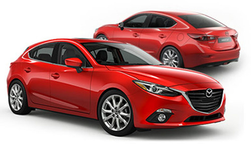 The 2014 Mazda3 goes up against the 2014 Chevy Cruze at Ingram Park Mazda.  (PRNewsFoto/Ingram Park Mazda)