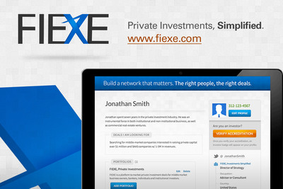 FIEXE, private investments, simplified, is a new investment network for equity and debt deals that changes the landscape of the private investment industry.  This investment network focuses on delivering value to dealmakers through simplifying the deal discovery process, increasing strategic networking opportunities and dramatically reducing the cost and time of completing transactions.  (PRNewsFoto/FIEXE)