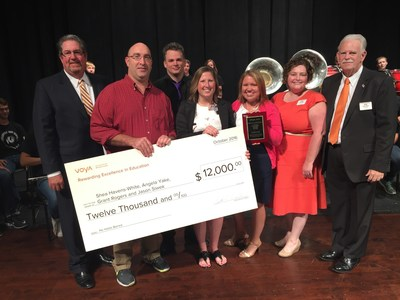 Shea Havens-White, Angela Yake, Grant Rogers and Jason Siwek, a group of teachers at Cedarville High School in Cedarville, Ohio, are the second place winners in the 2016 Voya Unsung Heroes awards competition.