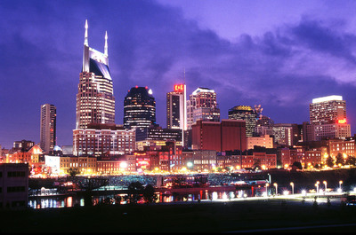 The Cumberland River reflects the lights of the Nashville skyline, one of scores of scenes in a video that promotes Nashville as a place to create music, build businesses and enjoy life.