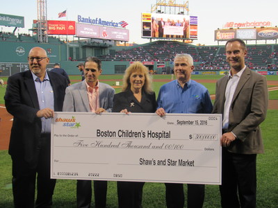 At the Red Sox game on 9.16.2016, Shaw's & Star Market employees proudly presented a check for $500,000 to Boston Children's Hospital on the field of Fenway Park.  Joining Shaw's Supermarket President, Paul Gossett and Star Market Director of Sales and Merchandising, John Scuccimarra were Shaw's Canton, MA Store Director - Maura Sweeney-Reeve and Star Market Fenway Store Director - Bob Kelly.  These two stores were the highest fundraising stores for the Shaw's & Star Market - Boston Children's Hospital Give a Smile Campaign.  Accepting the donation is Charles Savicki - Director of Corporate Initiatives at Boston Children's Hospital Trust.