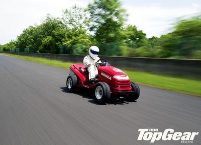 BBC TopGear Magazine and Honda Unleash the Stig on a 130mph Ride-on Lawnmower