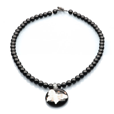 Artistic Falls Black Onex and Art Glass Pendant Beaded Necklace