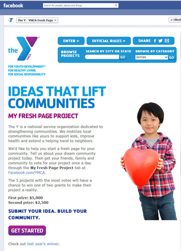 The YMCA's My Fresh Page Project is looking for community improvement ideas large and small. The top entry will win a $5,000 grant to bring their idea to life.  (PRNewsFoto/YMCA of the USA)