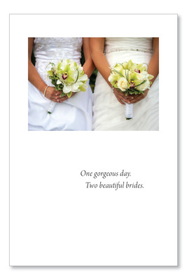 "A new gay wedding design by card publisher Cardthartic in response to requests from its 2,000 retailers.  Inside the card reads, ""Many more years of love and joy.  Congratulations.""  (PRNewsFoto/Cardthartic Cards & Comforts)"