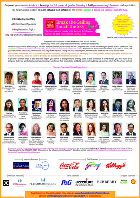 The star line up of speakers at Break the ceiling touch the sky - the success and leadership summit for women (and men who support gender diversity) on Feb 18, 2016, Mumbai. Network, learn and achieve.