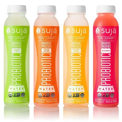 Suja Pressed Probiotic Waters are now available in Ginger Lime, Orange Ginger Pineapple, Pineapple Lemon Cayenne and Raspberry flavors at Target stores nationwide