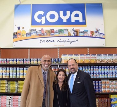 Rafael Toro, Director of Public Relations of Goya Foods; Marie Unanue; and Luis Tejada, Vice President of Goya Foods at the People's Pantry in Toms River, New Jersey