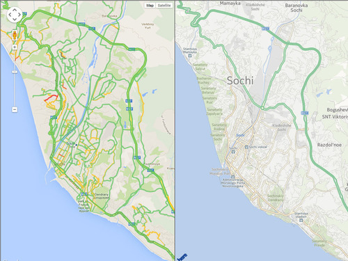 Traffic map of Sochi, Russia, home of the 2014 Winter Olympic Games shows how INRIX XD Traffic provides breakthroughs in real-time coverage and precision detail. (PRNewsFoto/INRIX, Inc.) (PRNewsFoto/INRIX, INC.)