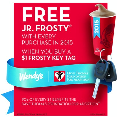 For $1, Wendy's customers can buy a Frosty Key Tag that gets them a free Jr. Frosty with every purchase during 2015, while supplies last.