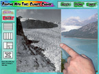 The 'Time Slice' controls in the Painting with Time: Climate Change App let you compare two perfectly aligned images of the same scene - revealing the dramatic retreat of a glacier.  (PRNewsFoto/Red Hill Studios)
