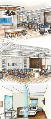 Renderings of Social Circle(TM), lobby and guest room at future Cambria hotels & suites Chicago - City Center.  (Note that all three renderings are part of one image)