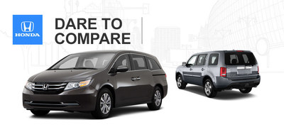 Continental Honda has set the 2015 Honda Odyssey vs. 2015 Honda Pilot side-by-side for local drivers looking for the best of Honda's family-friendly character. (PRNewsFoto/Continental Honda)