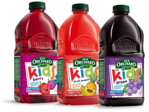 Old Orchard for Kids line adds three new flavors of reduced-sugar fruit juices today to include: Grape, Berry and Fruit Punch varieties.  (PRNewsFoto/Old Orchard Brands)