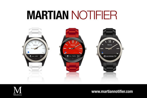 Martian Watches, award-winning developer of fashionable Bluetooth smartwatches, debuts its new Martian Notifier line of smartwatches at an unmatched price. The Martian Notifier line features a timeless, fashion-conscious analog design, customizable vibration patterns and an integrated OLED readout that delivers real-time alerts and notifications from the convenience of your wrist. Notifications include Caller ID, Calendar, Weather, texts, email, Facebook, Twitter, Instagram, favorite games, bank alerts, fitness stats, news headlines, and other alerts your smartphone allows. (PRNewsFoto/Martian Watches) (PRNewsFoto/MARTIAN WATCHES)