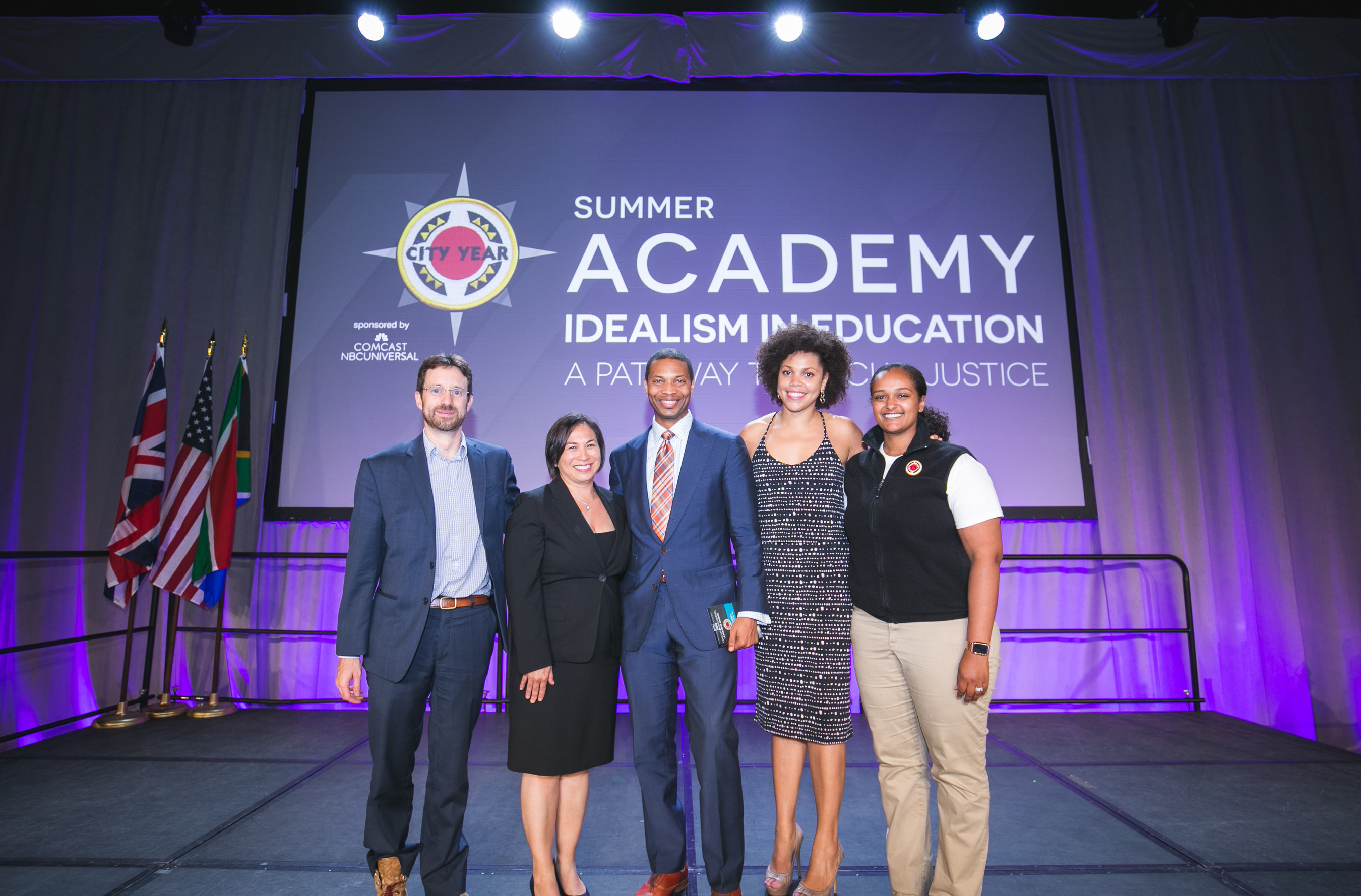 Comcast NBCUniversal recognizes five outstanding City Year alumni leaders at an award ceremony held in Boston on Wednesday, July 13, 2016.  Award recipients are (left to right):  Chris Osgood, Gina Massuda Barnett, Rahn Dorsey, Jade Elias and Bethiel Girma Holten.