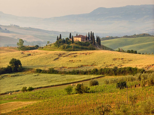 Visit Rigo Salcio set in Tuscany's vibrant sunflower fields and ancient olive groves where architectural ...