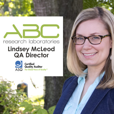 Lindsey Mcleod, QA director for ABC Research Laboratories has completed the requirements to be named an ASQ-Certified Quality Auditor, or ASQ CQA. McLeod joined the food safety testing laboratory in December 2013 and is responsible for (PRNewsFoto/ABC Research Laboratories)