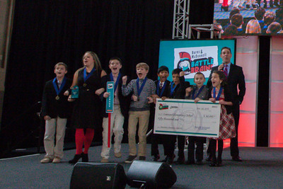 "Leawood Elementary students cannot contain their excitement as they are announced the grand prize winners of the Elementary Division of the ""Battle of the Brains"" STEM competition. Their ""GeneTech"" exhibit will investigate the science of heredity, genetic conditions and technology, and the history of DNA.  (PRNewsFoto/Burns & McDonnell Foundation)"