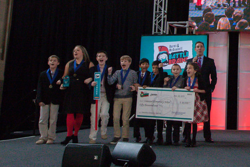 Leawood Elementary students cannot contain their excitement as they are announced the grand prize winners of ...