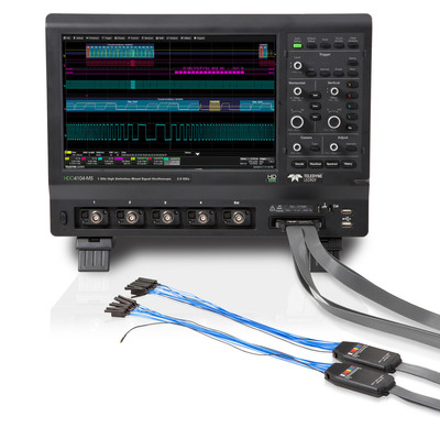 "The Teledyne LeCroy HDO-MS high definition oscilloscopes combine 16 channels of flexible mixed signal capabilities with HD4096 high definition technology, long memory, a compact form factor, 12.1"" touch screen display, and powerful measurement and analysis tools.  (PRNewsFoto/Teledyne LeCroy)"