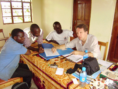Dr. Slobodan Petrovic coordinates with Tanzanian villagers for installation of solar power.