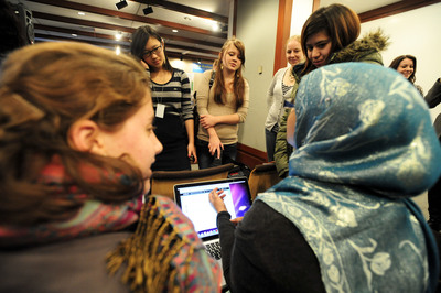 Plan girl delegates discuss growing up in a digital world. (PRNewsFoto/Plan International USA, Bartram Nason)
