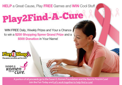 Play2Shop is a proud supporter of the Susan G. Komen Foundation. In celebration of Breast Cancer Awareness Month were giving away lots of free merchandise from our friends at ShopKomen.com.  (PRNewsFoto/Play2Shop)