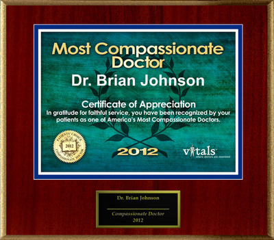 Patients Honor Dr. Brian Johnson for Compassion.  (PRNewsFoto/American Registry)