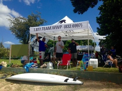 Injured veterans recently enjoyed water activities including adaptive surfing, shoreline flotation, and swimming at a volunteer event with Wounded Warrior Project in Ewa Beach, Hawaii.