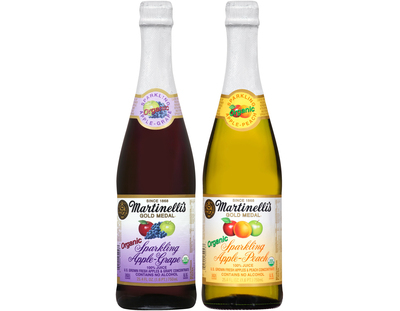 New for the holidays and exclusively at Whole Foods Market: Martinelli's Sparkling Organic Apple-Grape and Sparkling Organic Apple-Peach.  (PRNewsFoto/S. Martinelli & Company)