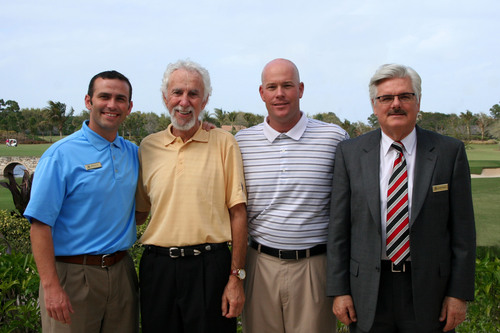 "BallenIsles Makes Largest One-Day Fundraising Donation ever in History of ""Arnie's Army Battles Prostate Cancer"" - Pictured from Left to Right: Brian Kelley, Director of Golf, BallenIsles; Charles Beren, Event Chair and Past President, BallenIsles Men's Golf Association; Chris Conway, Director of Golf, Prostate Cancer Foundation; Derrick Barnett, General Manager, BallenIsles.  (PRNewsFoto/BallenIsles Country Club)"