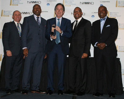 Mark Sandora Vice President of Sales - Americas IHS, Marc Bland Vice President of Diversity and Inclusion, Bill Faye Group Vice President General Manager Toyota (AWARD WINNER: Top Overall Ethnic Vehicle, Toyota Corolla), Damon Lester President NAMAD, Perry Watson Chairman NAMAD (in standing order from left to right)