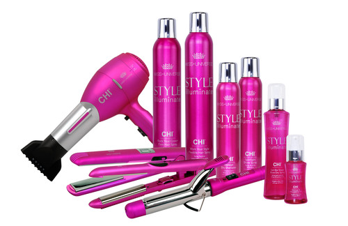 The Miss Universe Organization And CHI Launch New Miss Universe Style Illuminate by CHI Hair Care Line.  (PRNewsFoto/The Miss Universe Organization)