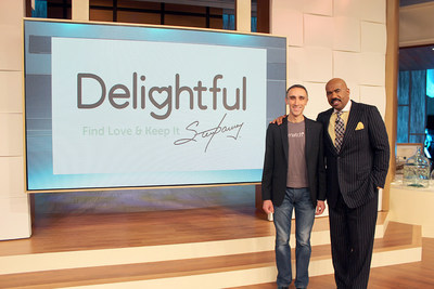 Sam Yagan, CEO of Match Group, and Steve Harvey, onset at the Steve Harvey show in Chicago, where they announced news of their new partnership, an online dating platform Delightful.com.