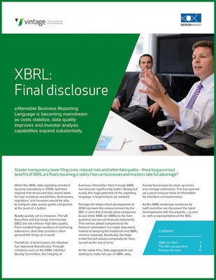 Greater transparency, lower filing costs, reduced risks and better data quality - these long-promisedbenefits of XBRL are finally becoming a reality. How can businesses and investors take full advantage? READ THIS WHITEPAPER.