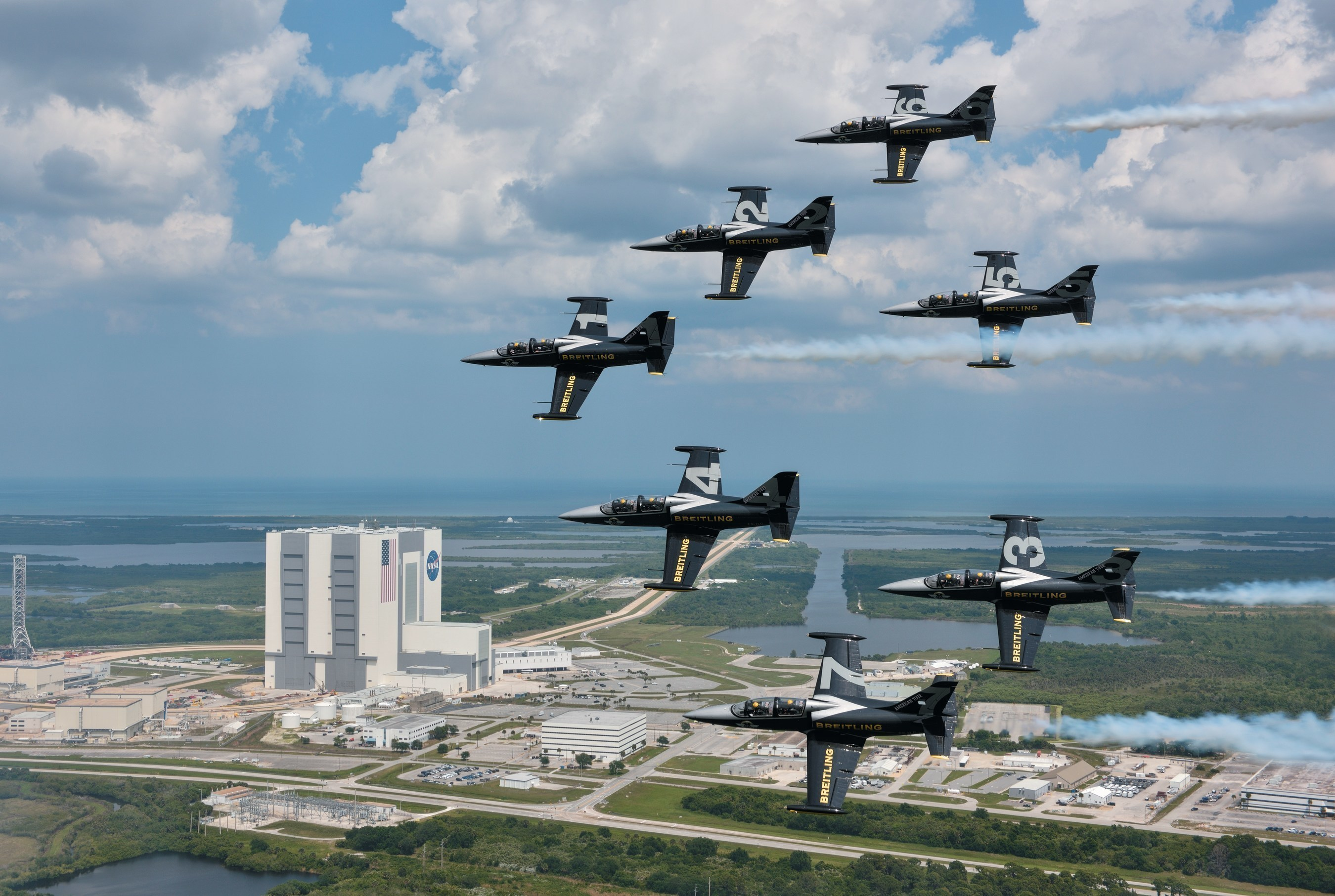 The Breitling Jet Team from Dijon, France, flew past the Kennedy Space Center to mark the start of their first American Tour. The team took off from Linder airport in Lakeland, Florida and landed in Titusville, Florida so they could visit the iconic space shuttle launch site. The team is also performing at the Sun 'n Fun Fly-In & International Expo on Friday, April 24th and Saturday, April 25th representing the independent Swiss watch company Breitling. Photo Courtesy of Breitling/Katushiko Tokunaga