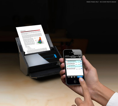 "The new faster and smarter Fujitsu ScanSnap iX500 is here now with a brand new ""PC-less"" scan to your mobile device functionality.  (PRNewsFoto/Fujitsu Computer Products of America, Inc.)"