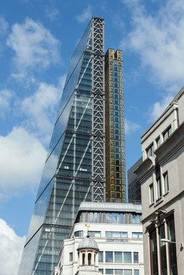 The Leadenhall Building in London, where KONE - an IBM Watson IoT customer - provides the largest and fastest suite of panoramic elevators in the world (credit: DBOX for KONE)