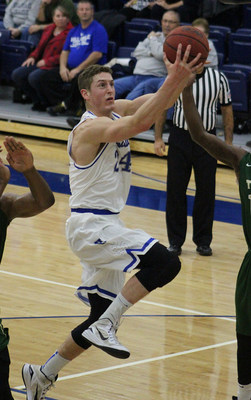 Kyle Cooper, senior forward for the Hillsdale College Chargers men's basketball team