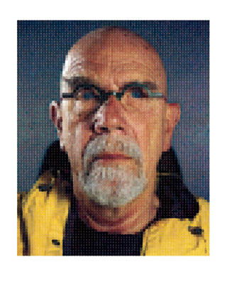 "Chuck Close (B. 1940 - ), ""Self-Portrait (Yellow Raincoat),"" 2013, Archival Watercolor Pigment Print on Hahnemuhle Rag Paper, 75 x 60 inches.  (PRNewsFoto/Contessa Gallery)"