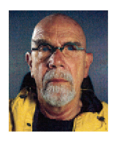 "Chuck Close (B. 1940 - ), ""Self-Portrait (Yellow Raincoat),"" 2013, Archival Watercolor Pigment Print on Hahnemuhle Rag Paper, 75 x 60 inches. (PRNewsFoto/Contessa Gallery) (PRNewsFoto/CONTESSA GALLERY)"