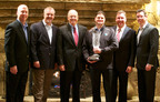 HP Presents VeriStor with the HP 3PAR StoreServ Storage Partner of the Year - US 2012 award. From left to right: Murray Granger, VP Sales, VeriStor; Ashby Lincoln, CEO, VeriStor; David Donatelli, Executive VP and General Manager - Enterprise Storage, HP; Jim Glueckert, COO, VeriStor; Chris Riley, VP, U.S., Storage, HP; Steven Bishop, CTO, VeriStor.  (PRNewsFoto/VeriStor Systems)