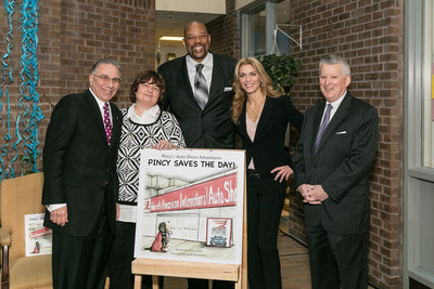 (from L to R) - 2016 NAIAS Chairman, Paul Sabatini, author, Gina Joseph, Detroit Pistons legend, Earl Cureton, illustrator, Jamie Ruthenberg, PNC Regional President, Ric DeVore.