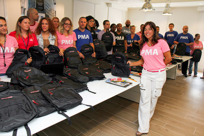 """To honor the life of her brother Peter """"Tato"""" Estrada who lost his battle with cancer, Sofia Castro is fulfilling his wish to send backpacks and school supplies to Haitian orphans with the support of Bankers Healthcare Group and Food For The Poor."""