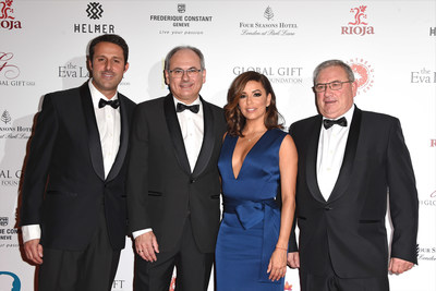 From left to right: Control Board marketing director Ricardo Aguiriano, director general Jose Luis Lapuente, Eva Longoria, and president, Jose Maria Daroca at the charity gala held in London on November 30 for the Eva Longoria Foundation.